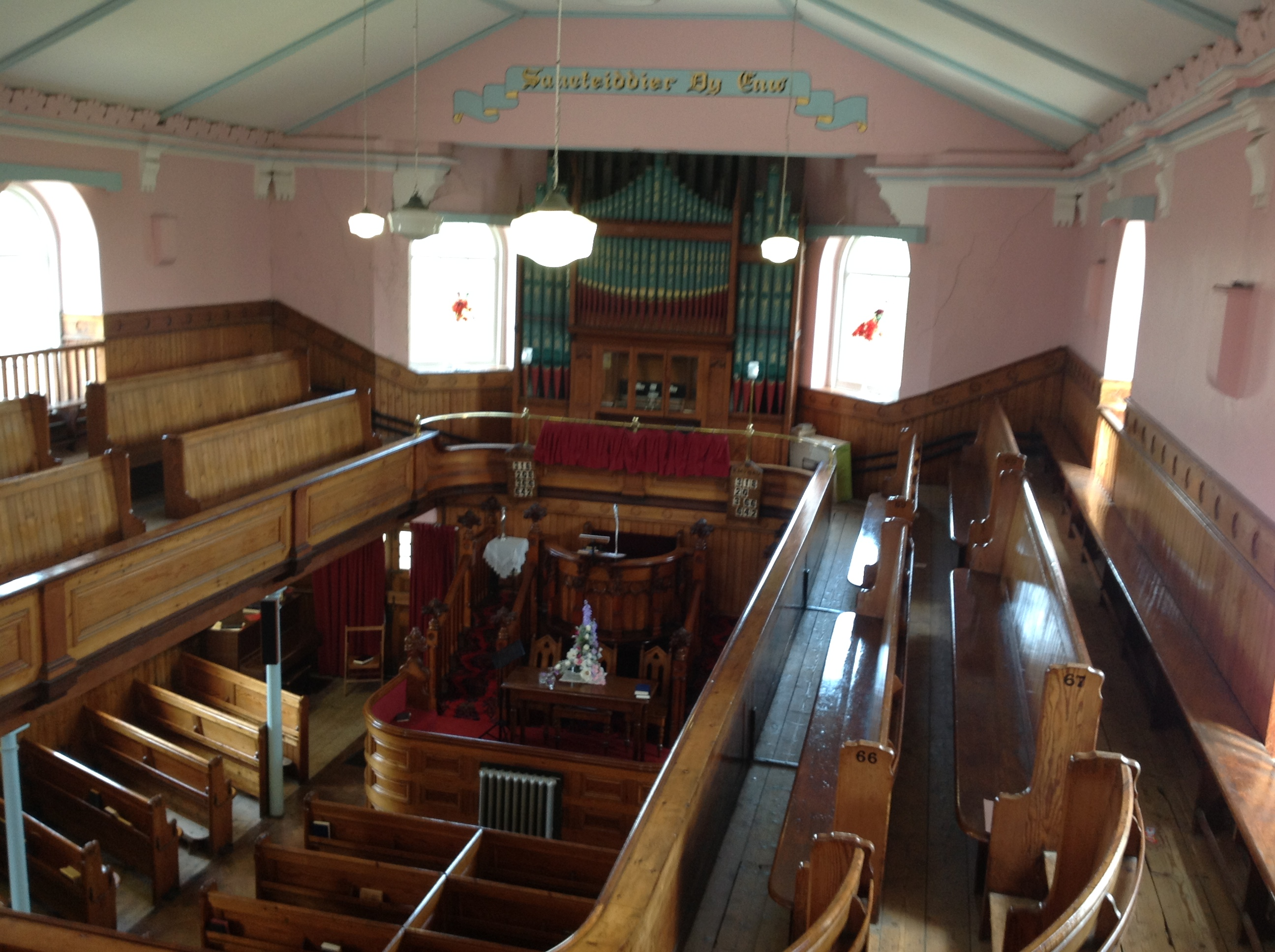 Upstairs view of organ & pulpit