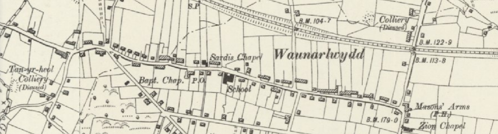 Old map of Waunarlwydd