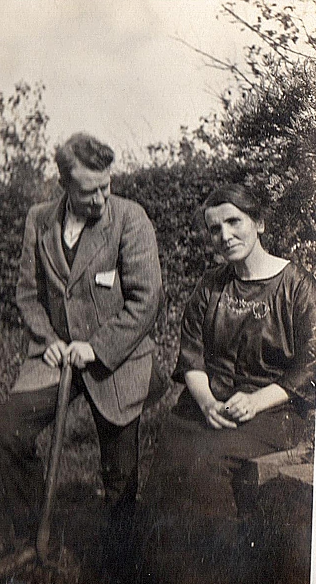 Rev and Mrs Evans in the Manse Garden