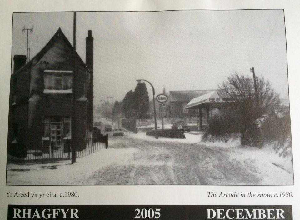 Old Arcade, Bryn Rd & Garage in the snow